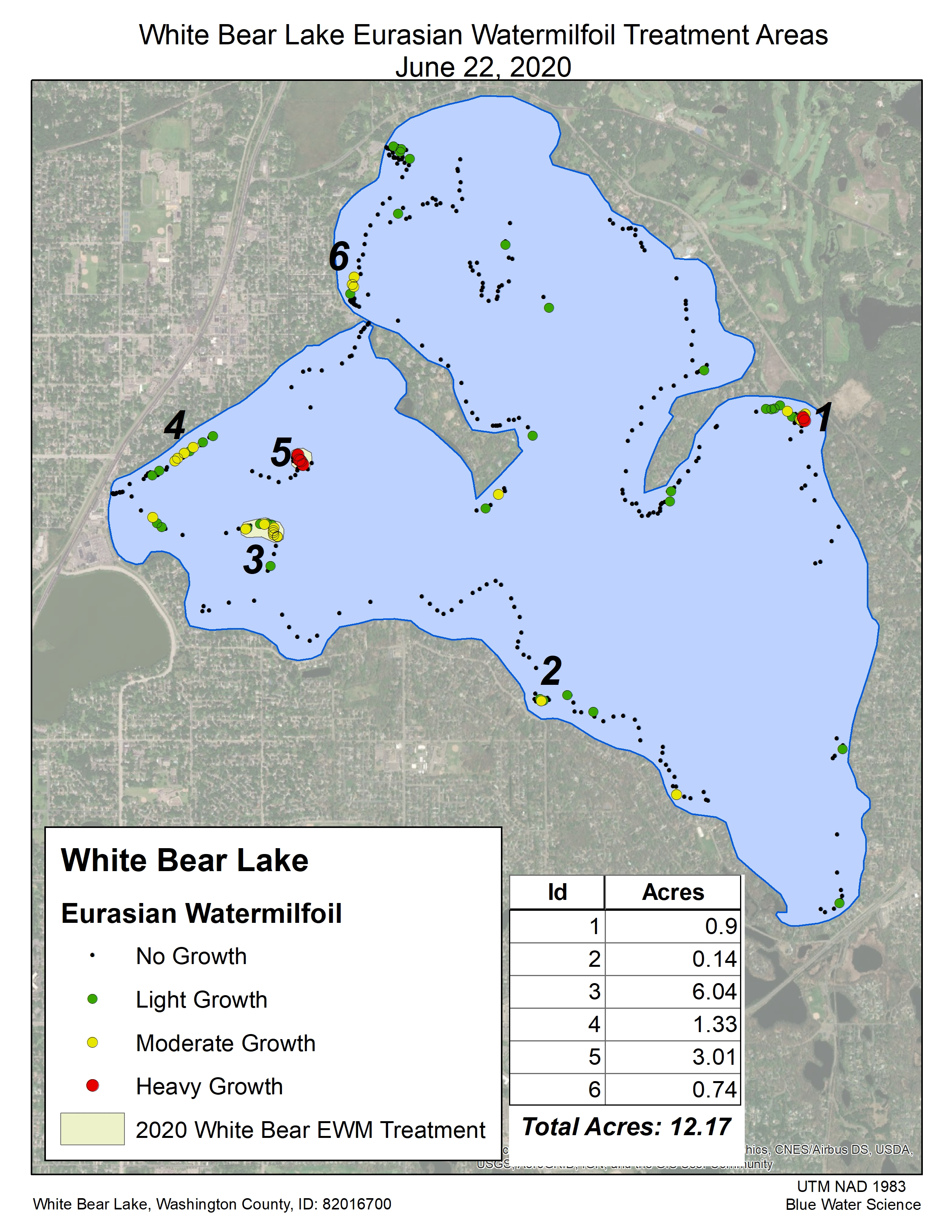 White Bear Lake EWM Treatment Map June 13 2019